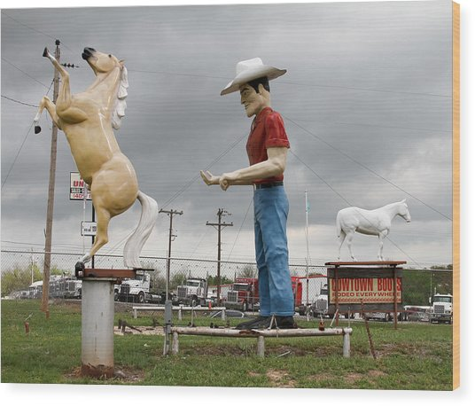 Giant Cowboy And Horses Wood Print by Tony Grider