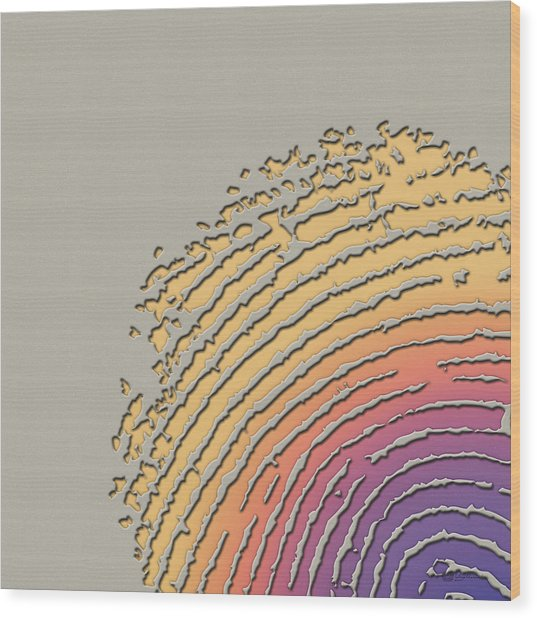Giant Iridescent Fingerprint On Beige Wood Print