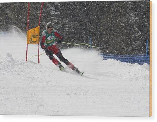 Giant Slalom Racing Wood Print