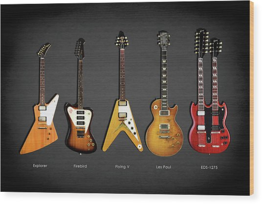 Gibson Electric Guitar Collection Wood Print