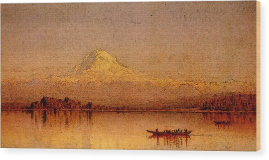 Gifford Sanford Robinson Mount Rainier Bay Of Tacoma Wood Print