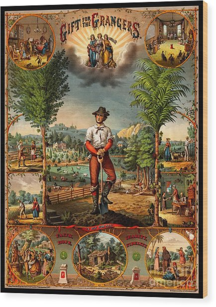 Gift For The Grangers 1873 Victoiran National Grange Agriculture Promotional Art Wood Print