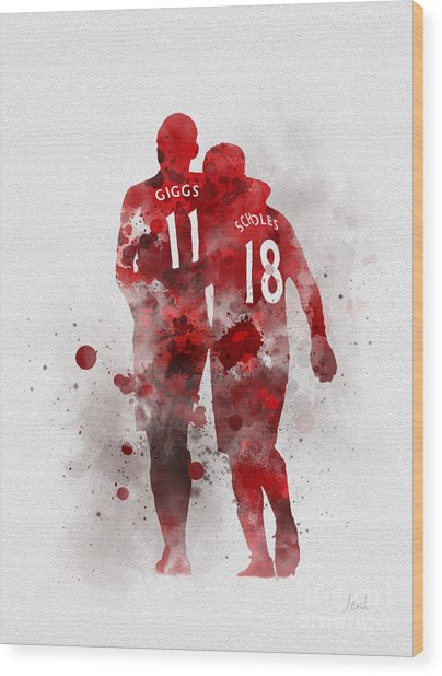 Giggsy And Scholesy Wood Print