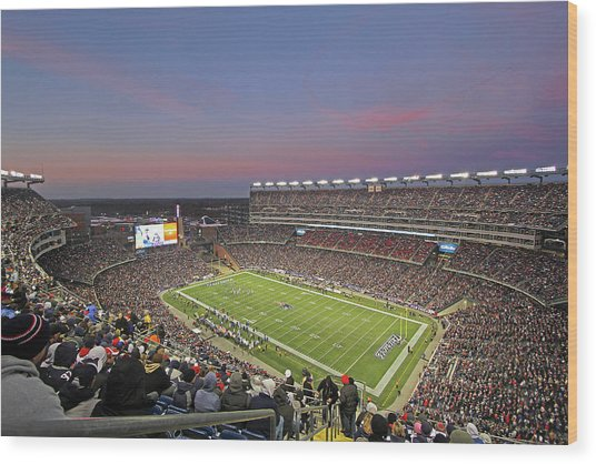 Gillette Stadium In Foxboro  Wood Print