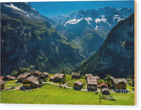 Gimmelwald In Swiss Alps - Switzerland Wood Print