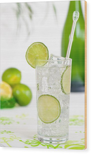 Gin And Tonic Drink Wood Print