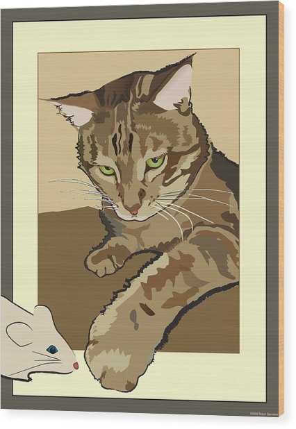 Ginger Peach Bengal Kitty Wood Print