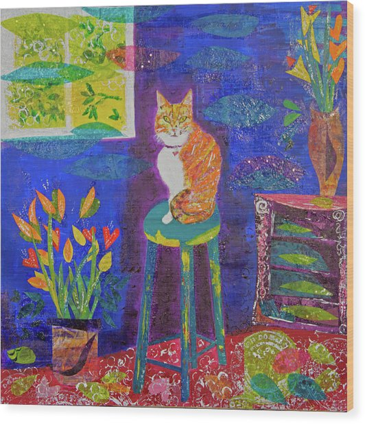 Ginger The Cat Wood Print