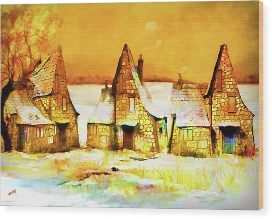 Wood Print featuring the painting Gingerbread Cottages by Valerie Anne Kelly