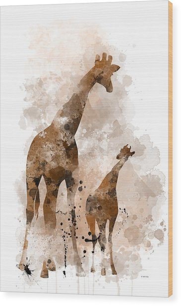 Giraffe And Baby Wood Print