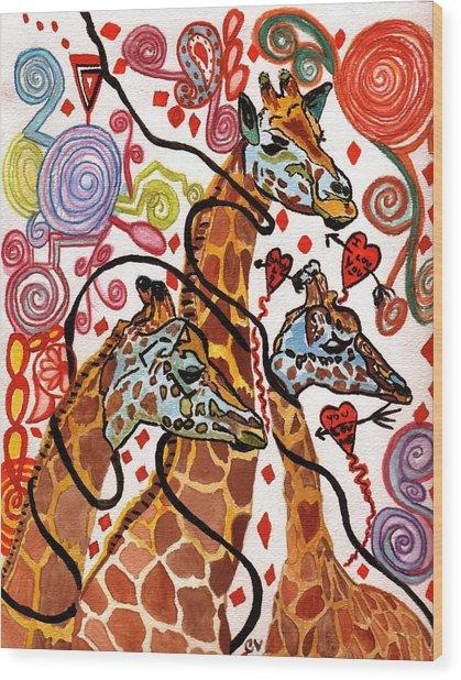 Giraffe Birthday Party Wood Print