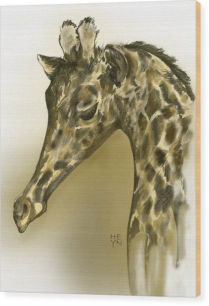 Giraffe Contemplation Wood Print