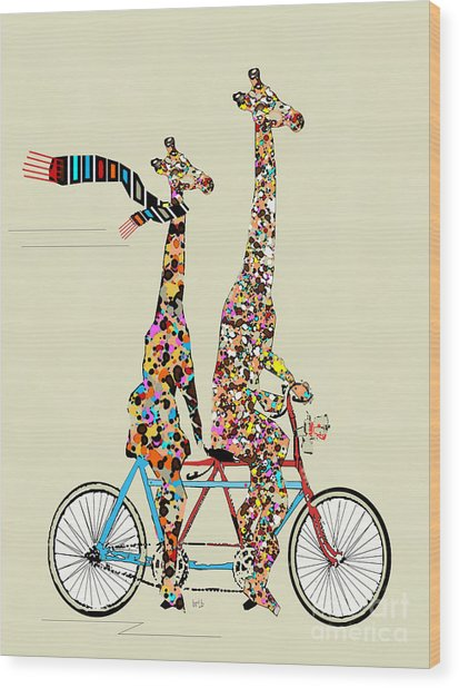 Giraffe Days Lets Tandem Wood Print