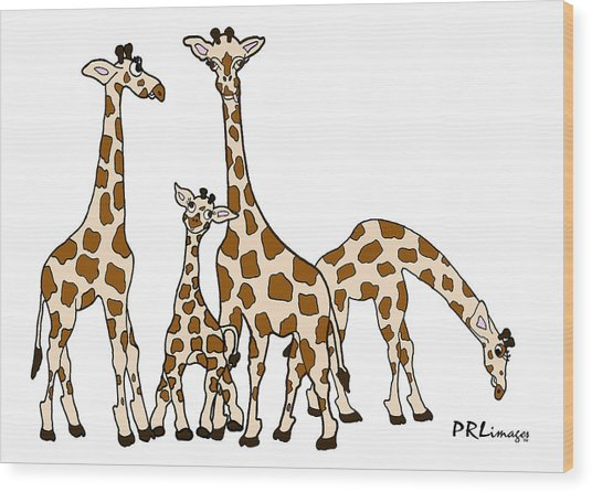 Giraffe Family Portrait In Brown And Beige Wood Print