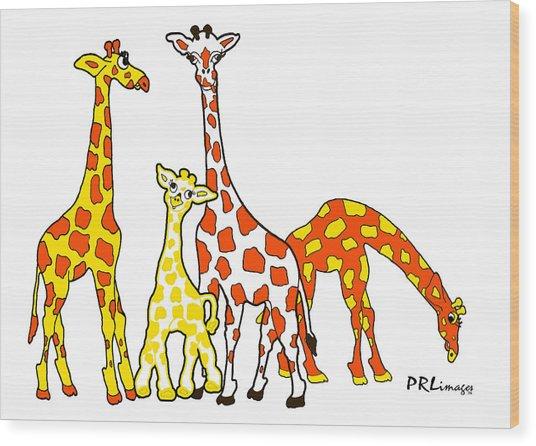 Giraffe Family Portrait In Orange And Yellow Wood Print