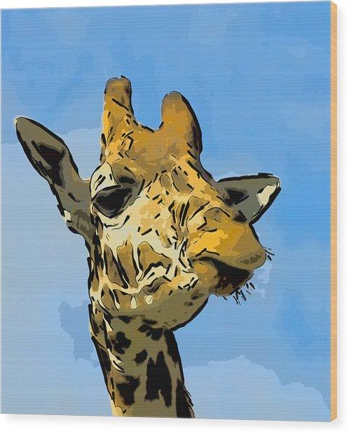 Giraffe Wood Print by Gareth Davies