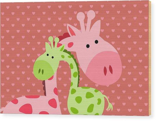 Giraffe  Hugs Wood Print