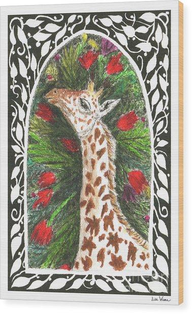 Giraffe In Archway Wood Print