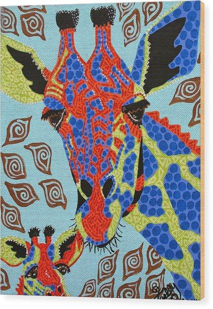Giraffe Mom And Baby Wood Print