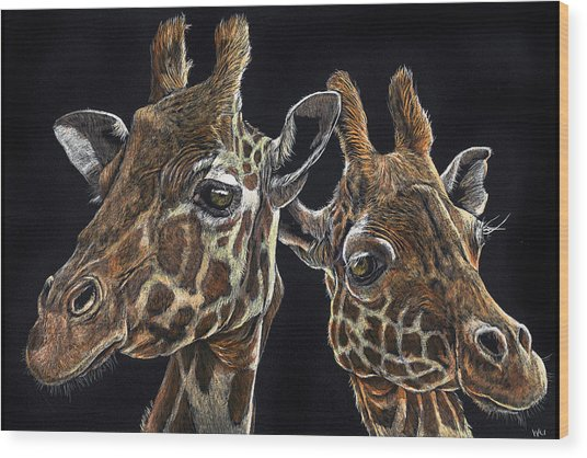 Giraffe Pair Wood Print