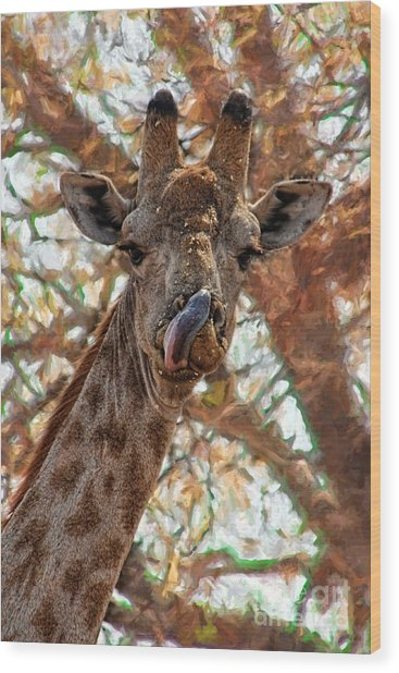 Giraffe Says Yum Wood Print
