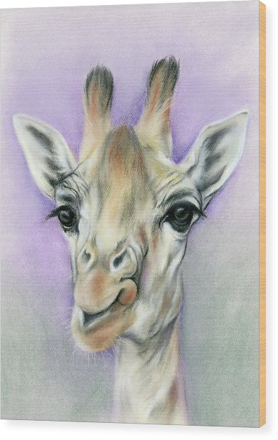 Giraffe With Beautiful Eyes Wood Print