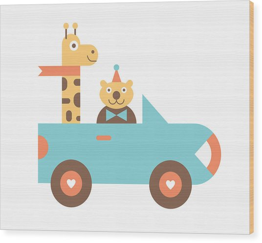 Animal Car Pool Wood Print