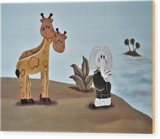 Giraffes, Elephants And Palm Trees Wood Print