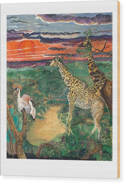 Giraffe's Gallop Wood Print by Everna Taylor