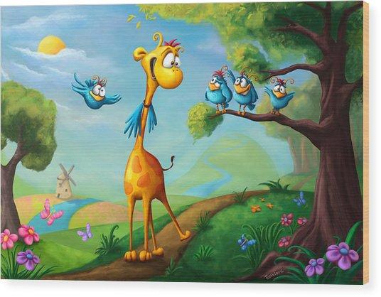 Giraffraf Wood Print
