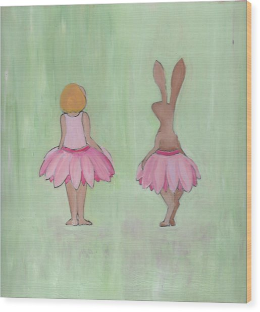 Girl And Bunny In Pink Tutus Wood Print
