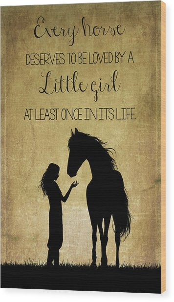 Girl And Horse Silhouette Wood Print