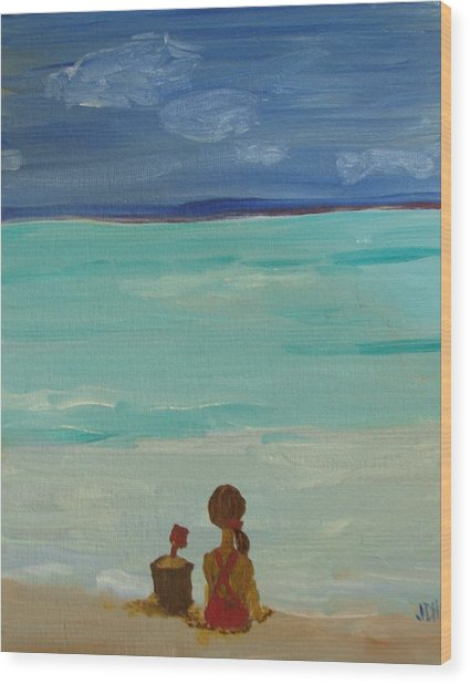 Girl And The Beach Wood Print