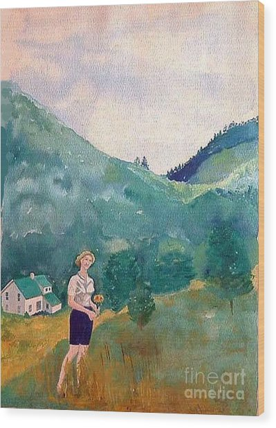 Girl At Murray Hollow Wood Print by Fred Jinkins