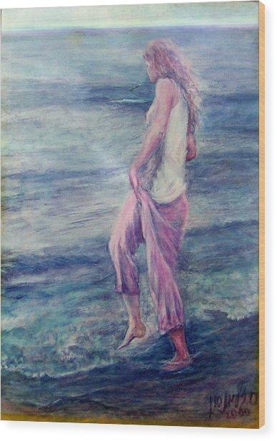 Girl At The Beach Wood Print