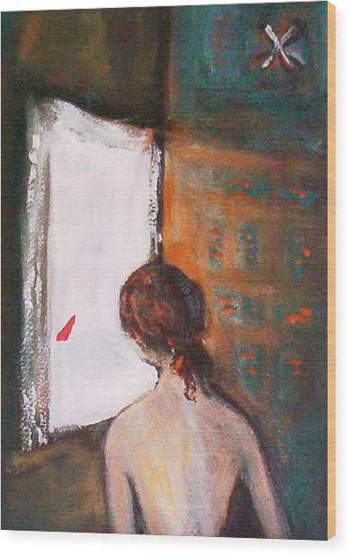 Girl At The Window Wood Print