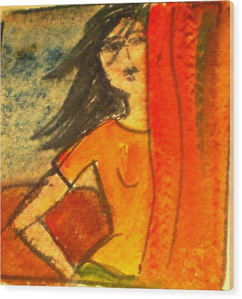 Girl Behind The Curtain Wood Print by Maria Rosaria DAlessio