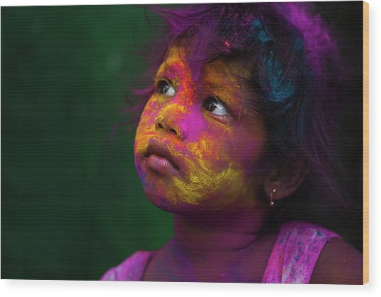 Girl During Holi Festival Wood Print