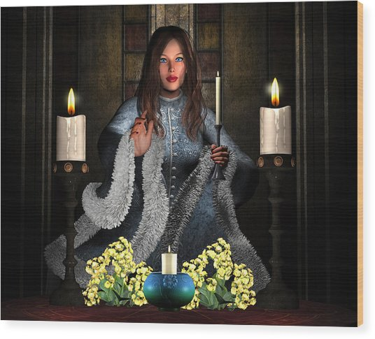 Girl Holding Candle Wood Print