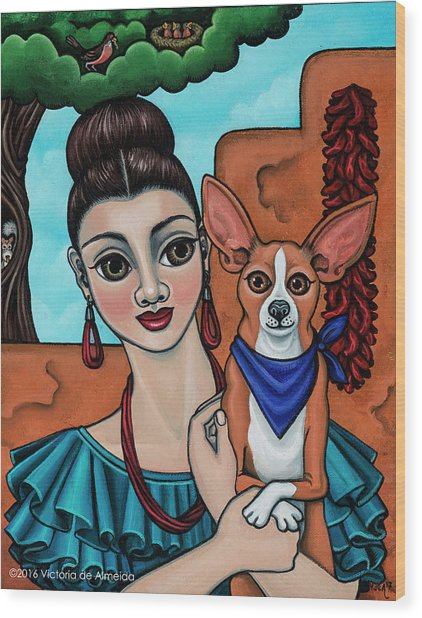 Girl Holding Chihuahua Art Dog Painting  Wood Print
