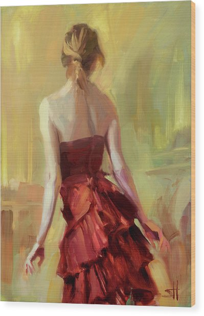 Girl In A Copper Dress I Wood Print