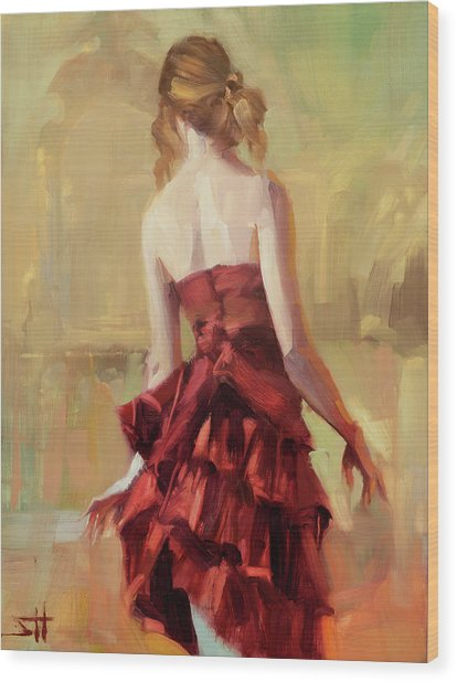 Girl In A Copper Dress II Wood Print