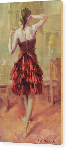 Girl In A Copper Dress IIi Wood Print