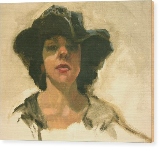 Girl In A Floppy Hat Wood Print by Merle Keller
