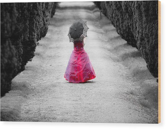 Girl In A Red Dress Wood Print