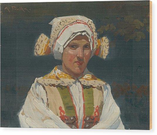 Girl In Costume, Antos Frolka, 1910 Wood Print
