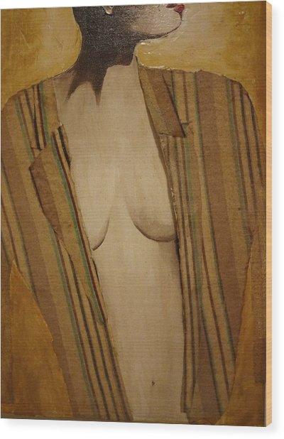 Girl In Man's Shirt Wood Print