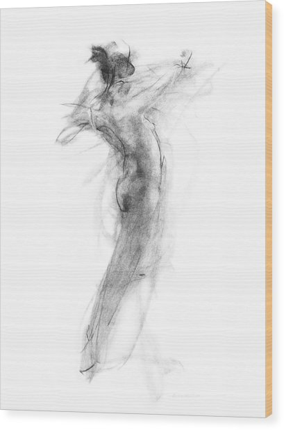 Girl In Movement Wood Print