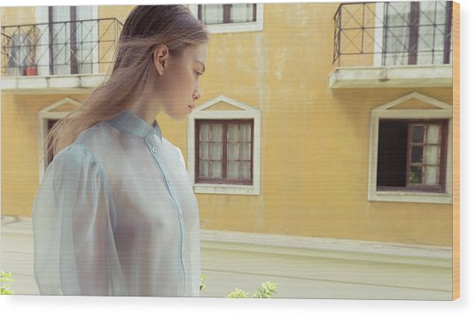 Girl In Profile Wood Print