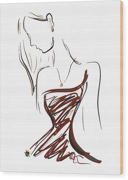 Girl In Red Wood Print